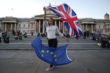 2017年9月13日,反對英國脫歐的民眾聚集在TRAFALGAR廣場參加反脫歐示威。(DANIEL LEAL-OLIVAS/AFP/Getty Images)