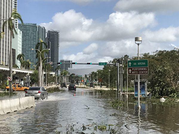 艾玛飓风过后,迈阿密市中心的道路上还有积水 。 (艾莉/大纪元)