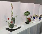 台湾人长辈会16日展出的插花作品。(袁玫/大纪元)