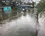 艾玛飓风给泰碧岛(Tybee Island)带来的水灾更甚于去年的马修飓风。(Cheryl McDaniel提供)