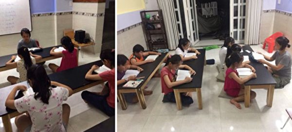 英語課結束後,阮黃鴛(音)在學生一起讀《轉法輪》。(ntd.tv)