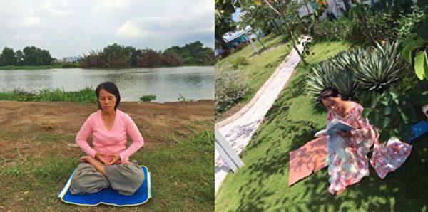 图为修炼法轮大法的阮黄鸳(音)在炼打坐、阅读《转法轮》。(ntd.tv)