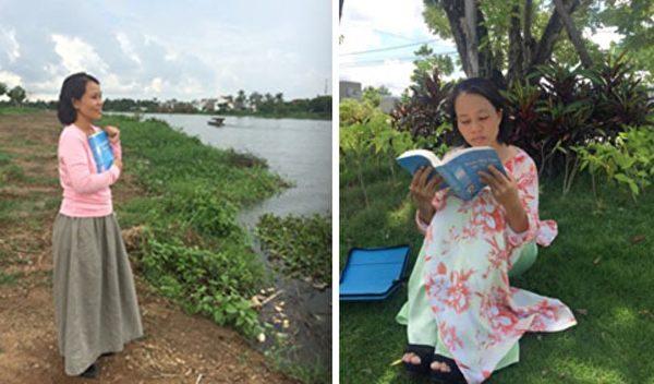 阮黄鸳(音)在阅读法轮大法书籍。(ntd.tv)