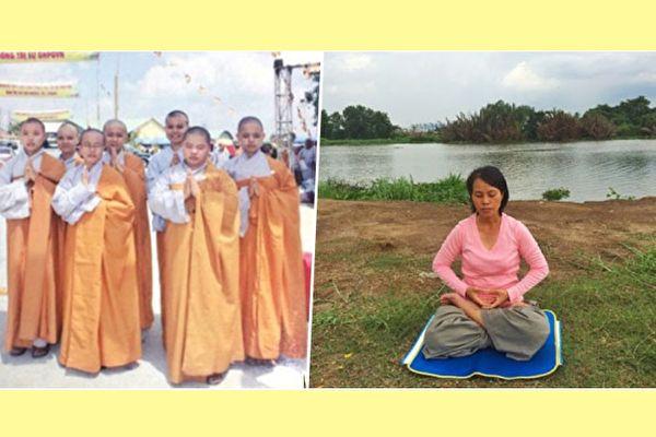 曾出家為尼的阮黃鴛(左三)因罹患胃癌的契機,結緣佛法,康復後選擇還俗。(ntd.tv)