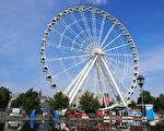 蒙特利尔老港60米高的全天候观景摩天轮终于对游客开放了。(易柯 / 大纪元)