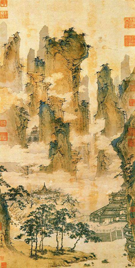 明嘉靖廿九年(公元1550年),仇英《仙山樓閣圖》。(公有領域)