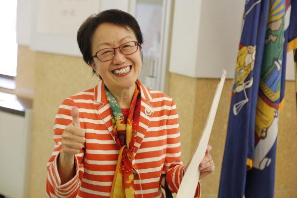 9月12日市议员陈倩雯在第一选区民主党初选中获胜。 (施萍/大纪元)