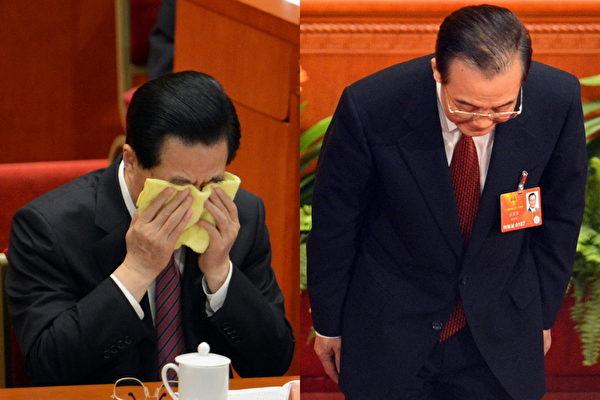 2013年3月,胡錦濤、溫家寶謝幕的中共兩會期間,網絡瘋傳一張胡錦濤掩面哭泣、溫家寶三鞠躬的照片。(GOH CHAI HIN/AFP)