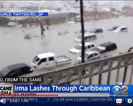 週三颶風艾瑪襲向加勒比群島。(HECTOR RETAMAL/AFP/Getty Images)