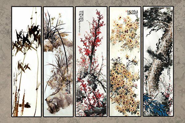 图:明慧学校成人班中国画示范画稿——《梅兰竹菊松》。(《醉梦画室》提供)