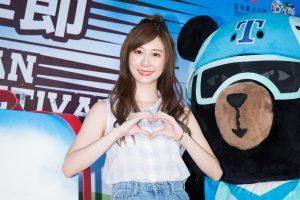张景岚19日出席台湾自行车节。(陈柏州/大纪元)