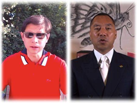 郭文贵(右)直播披露中共政法委书记孟建柱的贪腐材料。吴建民在网上披露孟建柱的起家(左)。(大纪元合成图)