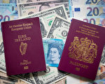 隨著英國脫歐談判的日漸深入,申請加入歐盟各國國籍的英國人數量成倍增長。圖為一本英國護照和一本愛爾蘭護照。(Matt Cardy/Getty Images)