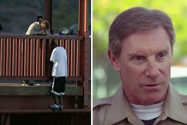 加州高速巡警凯文·布里吉(右)回忆10年前的情景说,站在金门大桥中段的波西亚看到他,立即翻到桥外,踏在一条狭窄的横梁上。(SF Chronicle,视频截图/大纪元合成)
