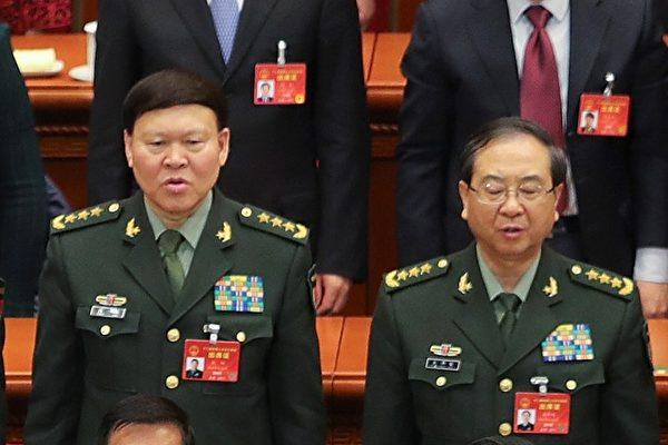 """9月8日,美国之音记者致电中共国防部新闻办,询问房峰辉(右)和张阳(左)是否正在接受调查。接电话的一名新闻办参谋表示,需要""""向领导请示汇报后才能答复""""。(Lintao Zhang/Getty Images)"""