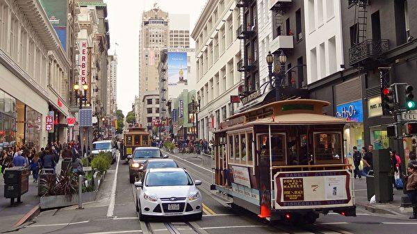 旧金山街头的缆车。(neufal54/CC/Pixabay)