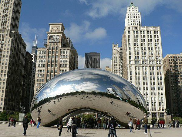 芝加哥千禧公园著名地标:云门(Cloud Gate)又称作The Bean。(Wolfgang R. Zissler/CC/Pixabay)