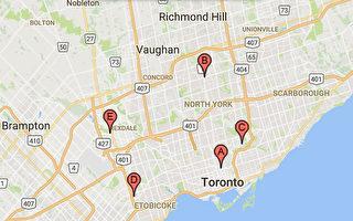 多倫多5個疫苗注射站將提供免費服務。(Google地圖)