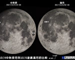 台北市立天文科學教育館指出,10月4日中秋節不是滿月的日子,真正月圓是在6日凌晨2時40分。圖為2017年10月4日中秋夜月與6日凌晨滿月的比較圖。(台北天文館)
