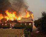 北加州葡萄酒之乡的8个县,10月9日清晨开始接连发生了14处山火。(Justin Sullivan/Getty Images)