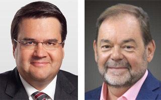 蒙特利尔市2017市长选举三位候选人,左起:现任市长丹尼斯‧柯代赫(Denis Coderre)、蒙特利尔联盟党候选人让‧福提(Jean Fortier)、反对党蒙特利尔事业党候选人瓦莱瑞‧普朗特(Valérie Plante)。(大纪元合成图片)