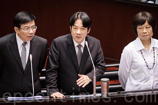 行政院長賴清德(中)6日表示,已要求相關部會,對於在社會上公然滋事的幫派或團體,應採取有效的作為。(陳柏州/大紀元)