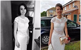 母亲替女儿拍下的第一张黑白礼服照片时,根本想不到接下来发生的事会带来多大的惊喜。(FB:Claire Carstens/大纪元合成)