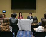 10月16日,林耶凡和人权法律基金会研究员罗宇在美国国会瑞本大楼举办的《血刃》放映会上回答观众提问。(李莎/大纪元)