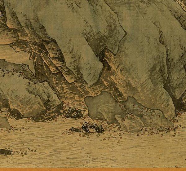 明 唐寅《溪山漁隱圖》局部,岩塊上畫的比較像小斧劈皴。(公有領域)