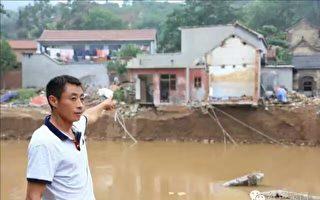 去年7月19日该村发生洪灾后的情景。(村民提供)