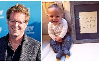 """巴掌天使法兰西(右)终于在大家悉心照顾下慢慢长大,而史丹顿(右)的鼓励信函""""继续往前游""""将成为他永远的祝福,陪他长大。(Facebook: Francis William,Getty Images: Frazer Harrison/大纪元合成)"""