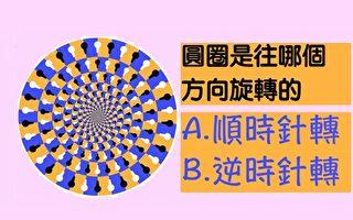 趣味測試:你覺得圖中的圓圈在往哪個方向旋轉?