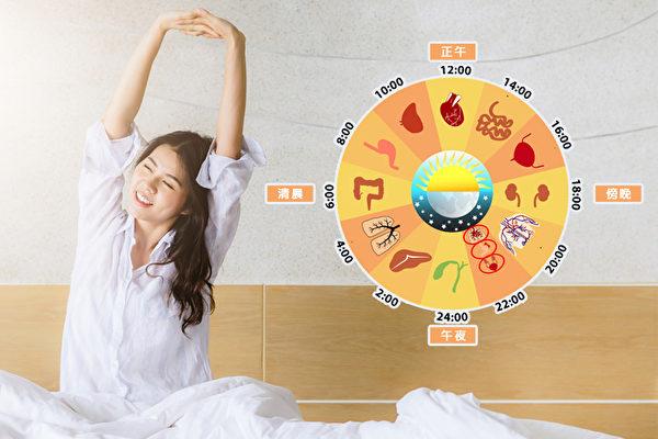 中醫認為,每個時辰有不同的臟腑值班,應順時養生。(Shutterstock/大紀元製圖)