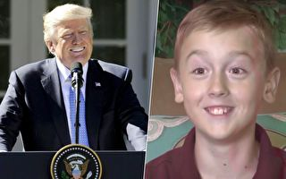 9岁男孩艾利沙担心总统川普没钱支付水电费,捐给他3美元,获得意外大礼包。(JASON CONNOLLY/AFP/Getty Images、视频截图/大纪元合成)