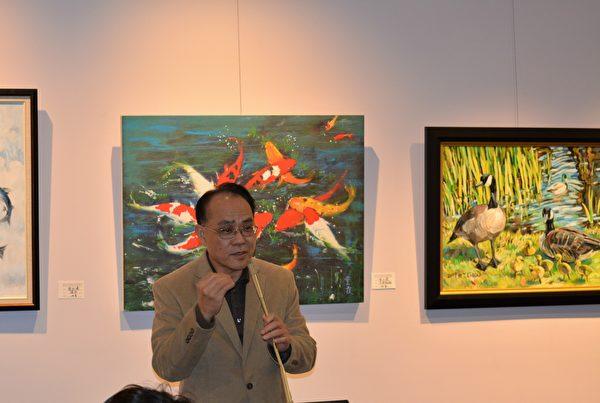 图:加西台湾艺术家协会2017年会员联展,驻温经文处刘汉清副处长致辞。 (邱晨/大纪元)