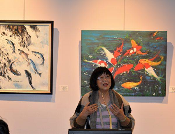 图:加西台湾艺术家协会2017年会员联展,艺术家赵行方在发言。 (邱晨/大纪元)