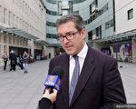 日前,英保守党人权委员会副主席罗哲斯被香港遣返回英国后,在伦敦接受大纪元及新唐人记者采访。(舒雅/大纪元)