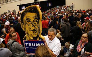 美國前裡根總統教育部長貝納特博士(Bill Bennett)13日在「價值取向選民峰會」(Values Voter Summit)上表示,本屆川普內閣比裡根政府更保守,為美國帶來希望。圖為2016年11月7日的美國大選前夜,密西根州支持川普的選民在集會中。( JEFF KOWALSKY/AFP/Getty Images)