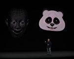 9 月12 日苹果公司产品发布会上介 绍iPhone X 的面部识别解锁功能。 (Justin Sullivan/Getty Images)