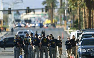 美国赌城于2017年10月1日发生史上最惨重的枪击屠杀案,枪案两天后,3日在音乐会旁的拉斯维加斯大道旁,仍可看见成群的联邦探员在现场搜证办案。(MARK RALSTON/AFP/Getty Images)