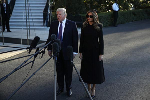 川普携第一夫人前往拉斯维加斯前,在白宫发表讲话。(Alex Wong/Getty Images)