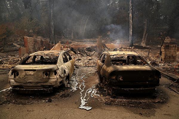 有超過119,000英畝的土地被燒毀,其中大部分是加州著名葡萄酒之鄉美麗如畫的景觀。(Justin Sullivan/Getty Images)