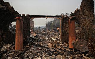 北加最具破壞性的野火製造了大量垃圾,正引發州史上最大規模的清理運動。圖為10月9日加州納帕縣火災過後的瘡痍景象。  ( Justin Sullivan/Getty Images)
