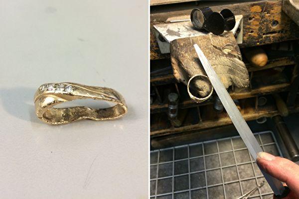 經過喬丹幾小時的努力,被機器碾壞的戒指一步步地大變身。(Imgur: jmman/大紀元合成)