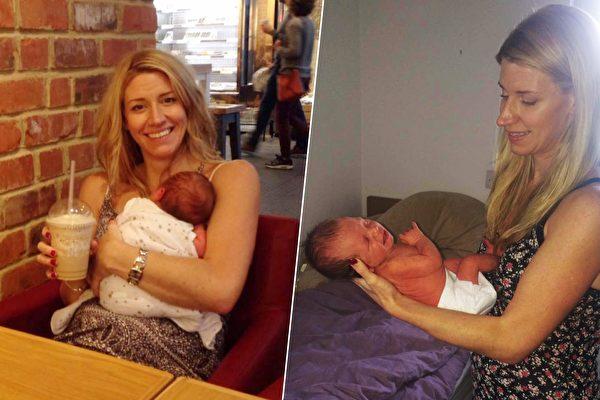 英國媽媽產後突然變得精力充沛、能量十足,沒想到這竟然是患病的表現。(臉書/大紀元合成)