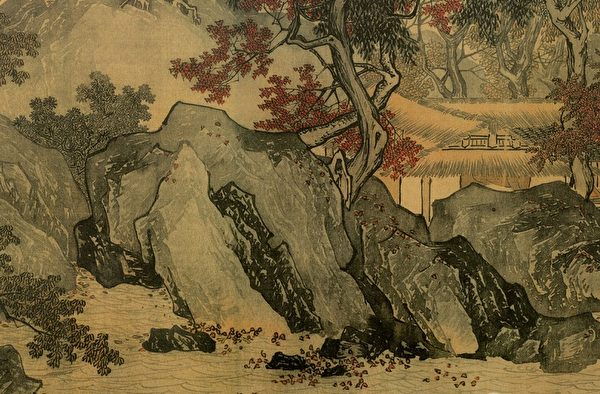明 唐寅《溪山漁隱圖》局部,用小披麻所皴畫的岩石。(台北故宮博物院收藏)(公有領域)