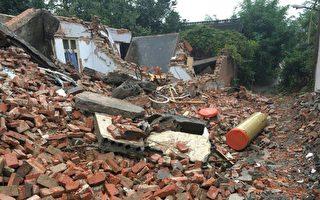 2017年10月4日,河南省郑州市百炉屯村形同废墟。之前当局派人采取突击清拆行动,目标是村民徐德海和邻居的相连房屋。(徐德海家属独家提供)