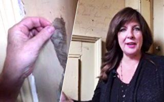 加拿大一名女子揭開家裡的舊牆紙,赫然發現一段隱藏了50年的神祕留言。(視頻截圖/大紀元合成)