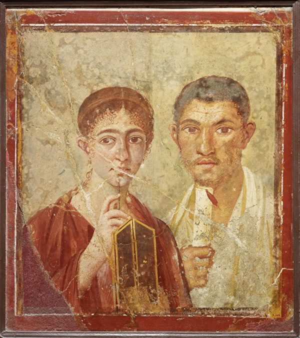 麵包房東主夫婦的雙人肖像壁畫(大英博物館提供)