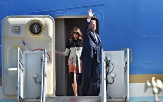 2017年11月5日,美国总统川普伉俪搭乘空军一号专机,抵达其亚洲之行的首站日本。(Kazuhiro NOGI/POOL/AFP)